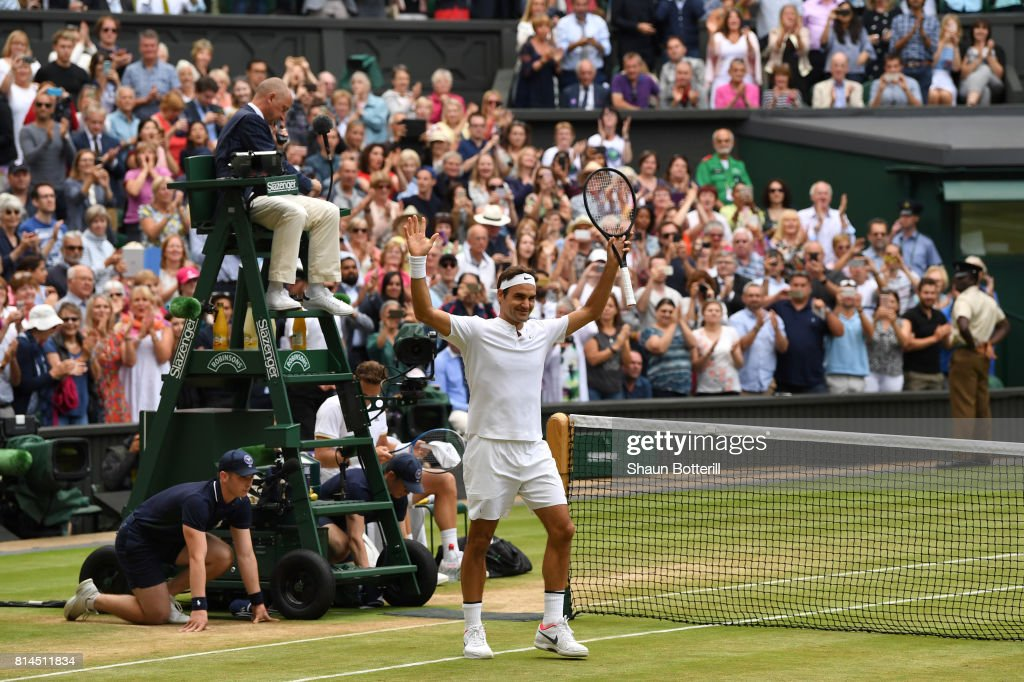 Roger Federer of Switzerland celebrates victory after the Gentlemen's Singles semi final match against Tomas Berdych of The Czech Republic on day eleven of the Wimbledon Lawn Tennis Championships at the All England Lawn Tennis and Croquet Club at Wimbledon at Wimbledon on July 14, 2017 in London, England.