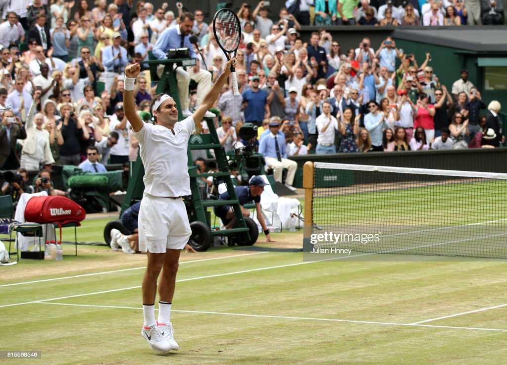 Roger Federer of Switzerland celebrates victory after the Gentlemen's Singles final against Marin Cilic of Croatia on day thirteen of the Wimbledon Lawn Tennis Championships at the All England Lawn Tennis and Croquet Club at Wimbledon on July 16, 2017 in London, England.