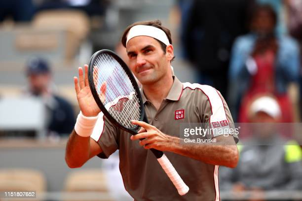 Roger Federer of Switzerland celebrates victory during his mens singles first round match against Lorenzo Sonego of Italy during Day one of the 2019...
