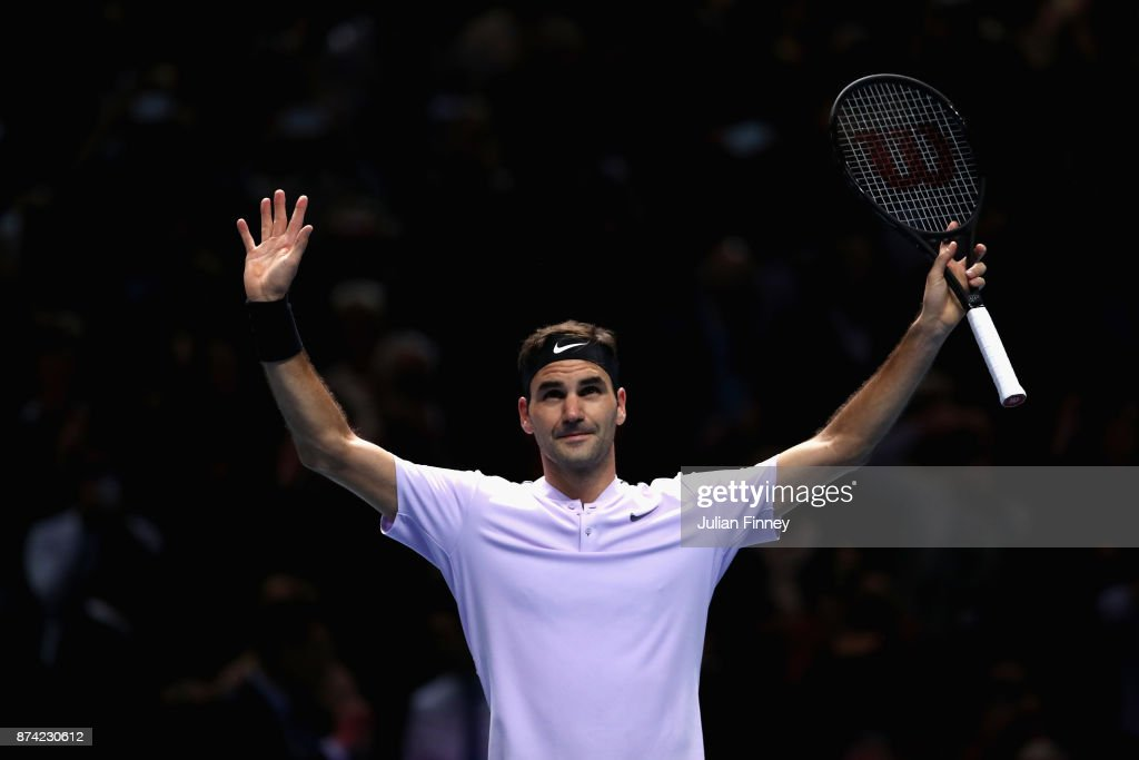 Roger Federer of Switzerland celebrates victory during the singles match against Alexander Zverev of Germany on day three of the Nitto ATP World Tour Finals at O2 Arena on November 14, 2017 in London, England.