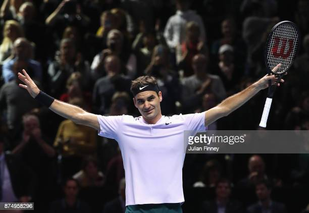 Roger Federer of Switzerland celebrates victory in his Singles match against Marin Cilic of Croatia during day five of the Nitto ATP World Tour...