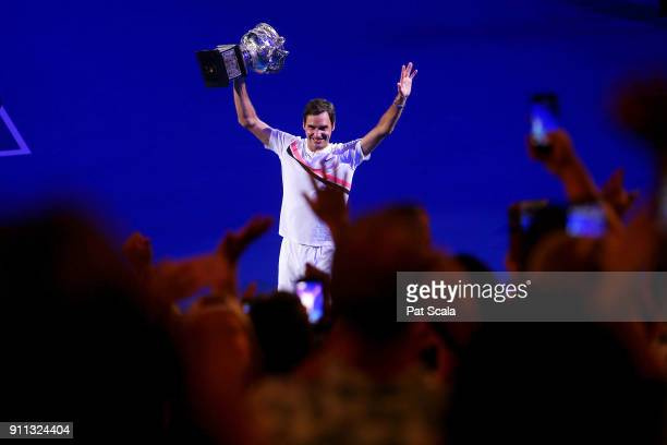 Roger Federer of Switzerland celebrates victory in the mens final against Marin Cilic of Croatia on day 14 of the 2018 Australian Open at Melbourne...