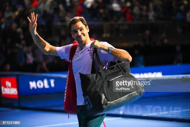 Roger Federer of Switzerland celebrates victory in the singles match against Alexander Zverev of Germany on day three of the Nitto ATP World Tour...