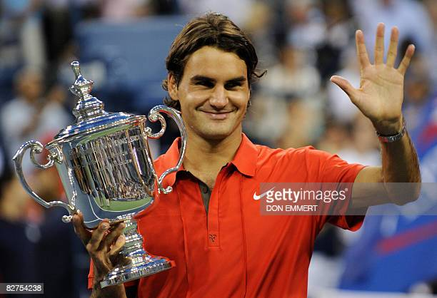 Roger Federer of Switzerland celebrates victory over Andy Murray of Great Britain in the men's final at the US Open tennis tournament September 8...