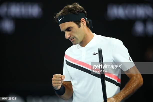 Roger Federer of Switzerland celebrates winning a point in his semifinal match against Hyeon Chung of South Korea on day 12 of the 2018 Australian...