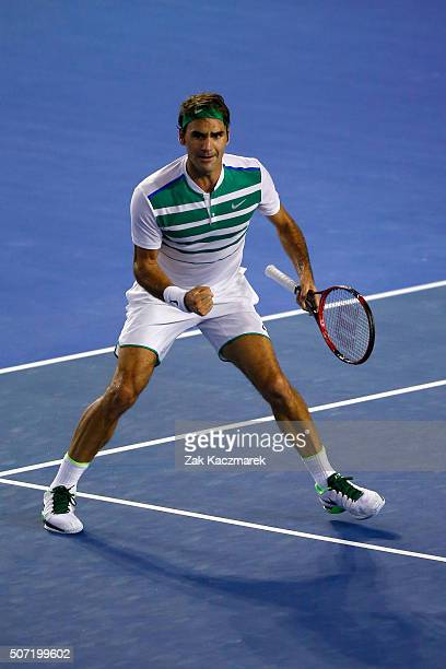 Roger Federer of Switzerland celebrates winning a point in his semi final match against Novak Djokovic of Serbia during day 11 of the 2016 Australian...