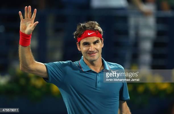 Roger Federer of Switzerland celebrates winning against Novak Djokovic of Serbia during their semifinal match in the Dubai Duty Free Tennis ATP...