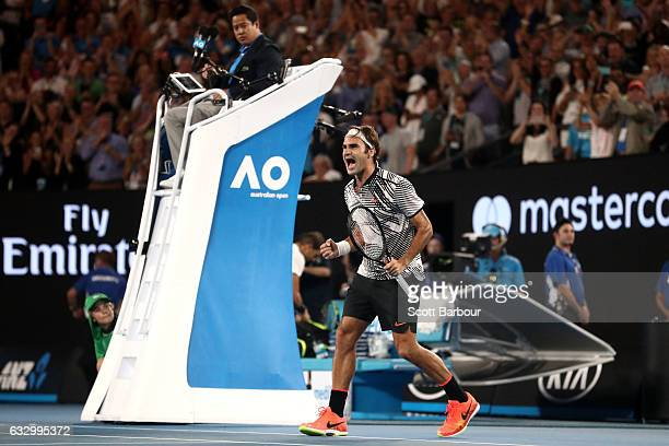Roger Federer of Switzerland celebrates winning championship point in his Men's Final match against Rafael Nadal of Spain on day 14 of the 2017...