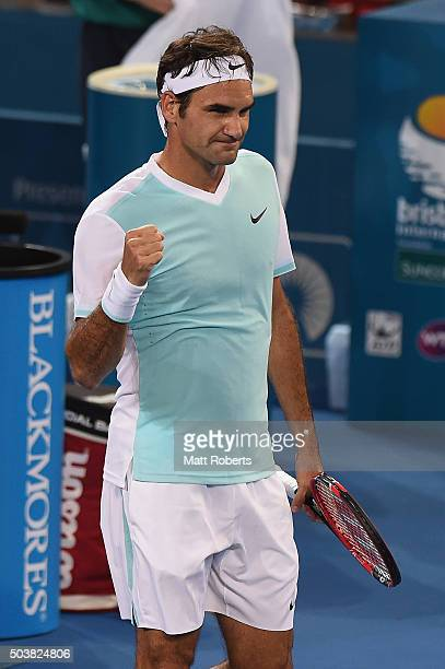 Roger Federer of Switzerland celebrates winning his match against Tobias Kamke of Germany during day five of the 2016 Brisbane International at Pat...