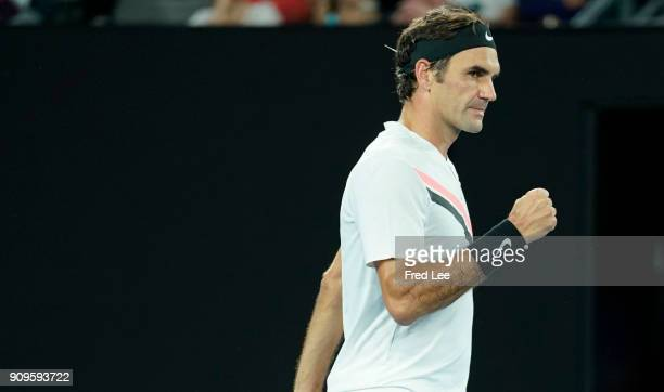 Roger Federer of Switzerland celebrates winning his quarterfinal match against Tomas Berdych of the Czech Republic on day 10 of the 2018 Australian...
