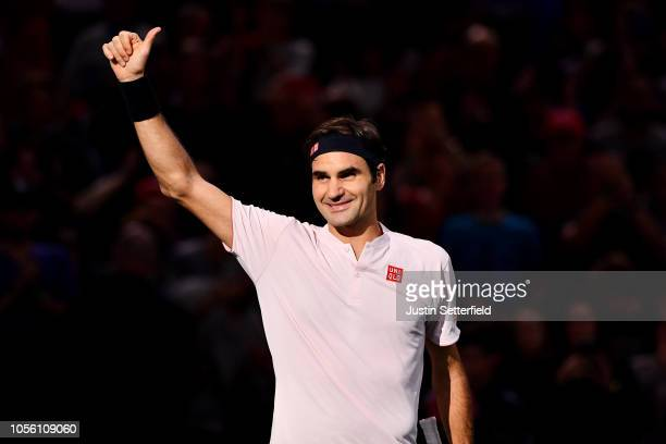 Roger Federer of Switzerland celebrates winning his Round of 16 match against Fabio Fognini of Italy during Day 4 of the Rolex Paris Masters on...