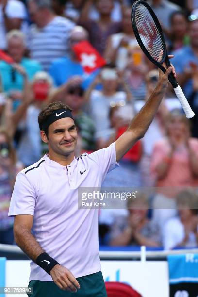 Roger Federer of Switzerland celebrates winning his singles finals match against Alexander Zverev of Germany on day eight during the 2018 Hopman Cup...