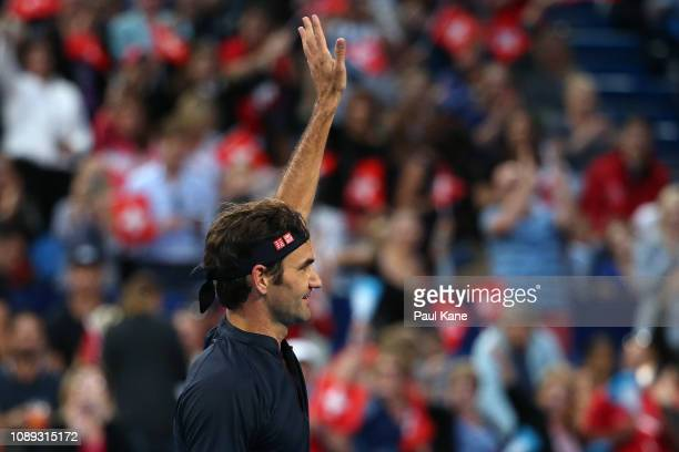 Roger Federer of Switzerland celebrates winning his singles match against Stefanos Tsitsipas of Greece during day six of the 2019 Hopman Cup at RAC...