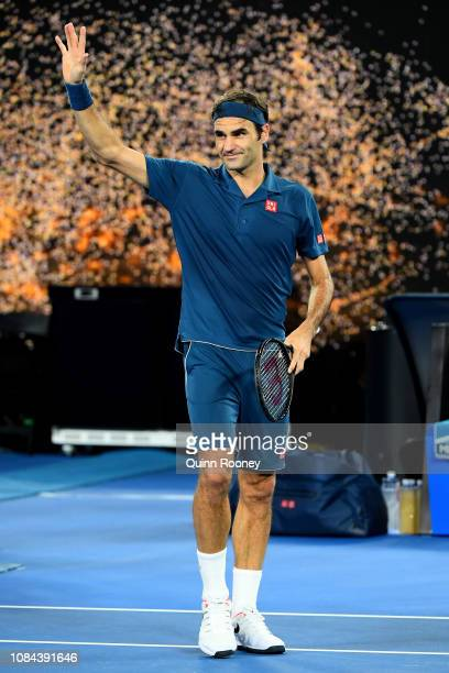 Roger Federer of Switzerland celebrates winning his third round match against Taylor Fritz of the United States during day five of the 2019...