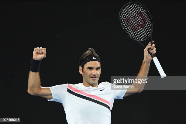 Roger Federer of Switzerland celebrates winning his third round match against Richard Gasquet of France on day six of the 2018 Australian Open at...