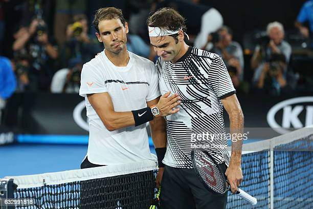 Roger Federer of Switzerland celebrates winning in the Men's Final match against Raphael Nadal of Spain on day 14 of the 2017 Australian Open at...