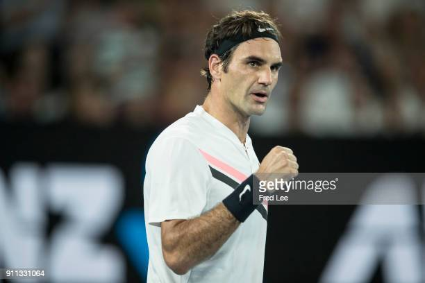 Roger Federer of Switzerland celebrates winning the championship point in his men's singles final match against Marin Cilic of Croatia on day 14 of...