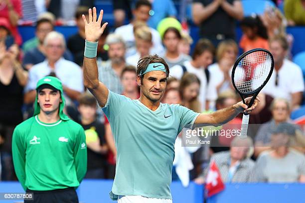 Roger Federer of Switzerland celebrates winning the men's singles match against Dan Evans of Great Britain on day two of the 2017 Hopman Cup at Perth...