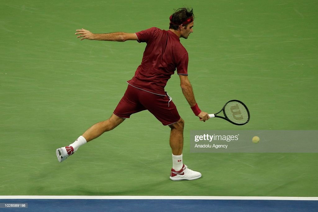 Roger Federer of Switzerland competes against John Millman (not seen) of Australia during US Open 2018 tournament in New York, United States on September 4, 2018.