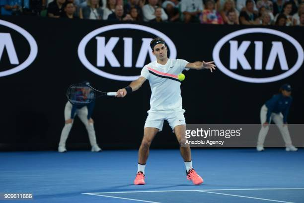 Roger Federer of Switzerland competes with Tomas Berdych of the Czech Republic on day 10 of the 2018 Australian Open at Melbourne Park on January 24...