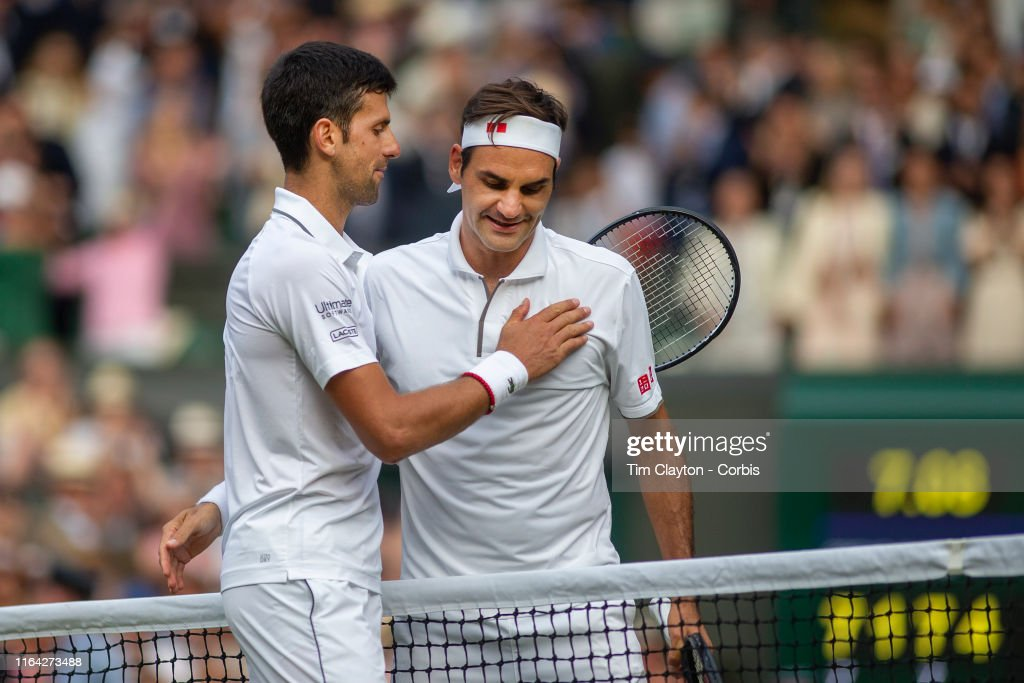Roger Federer Of Switzerland Congratulates Novak Djokovic Of Serbia News Photo Getty Images