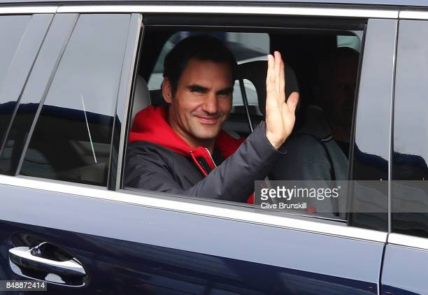 Roger Federer of Switzerland departs Vaclav Havel Airport Prague ahead of the Laver Cup on September 18 2017 in Prague Czech Republic The Laver Cup...