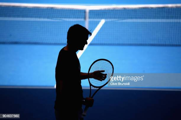 Roger Federer of Switzerland during a practice session ahead of the 2018 Australian Open at Melbourne Park on January 14 2018 in Melbourne Australia