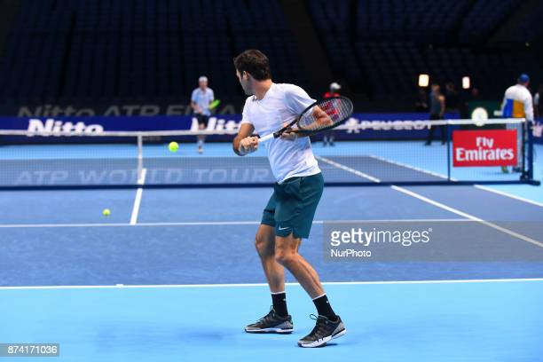 Roger Federer of Switzerland during a training session during day three of the Nitto ATP World Tour Finals at O2 Arena, London on November 14, 2017.