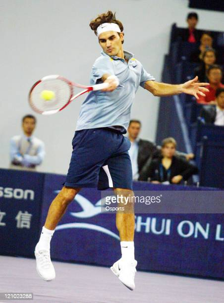 Roger Federer of Switzerland during semifinals match against Rafael Nadal of Spain at the Tennis Masters Cup in Shanghai China on November 18 2006