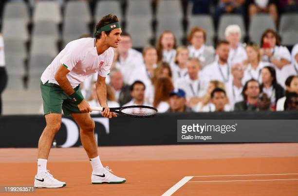 Roger Federer of Switzerland during the Match in Africa between Roger Federer and Rafael Nadal at Cape Town Stadium on February 07 2020 in Cape Town...