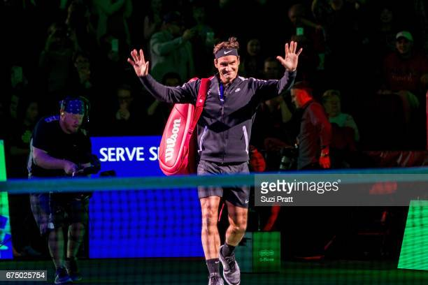 Roger Federer of Switzerland enters the tennis court at the Match For Africa 4 exhibition match at KeyArena on April 29, 2017 in Seattle, Washington.