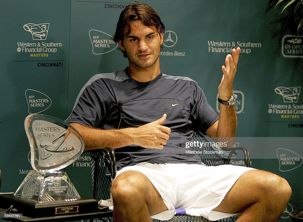 Roger Federer of Switzerland fields questions from the media after his win over Andy Roddick during the final of the Western & Southern Financial Group Masters on August 21, 2005 at the Lindner Family Tennis Center in Mason, Ohio. Federer defeated Roddick 6-3, 7-5.