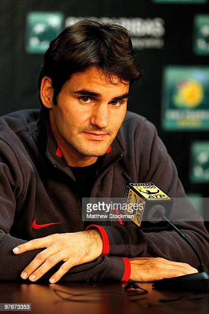 Roger Federer of Switzerland fields questions from the media during the BNP Paribas Open on March 12, 2010 in Indian Wells, California.