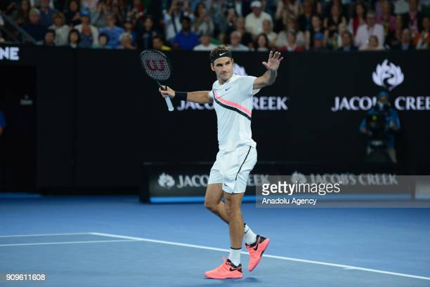 Roger Federer of Switzerland gestures as he competes with Tomas Berdych of the Czech Republic on day 10 of the 2018 Australian Open at Melbourne Park...