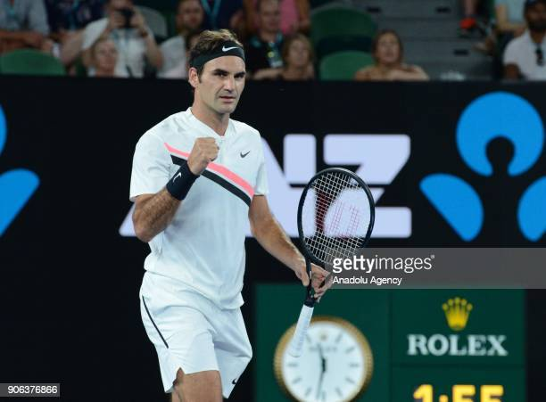 Roger Federer of Switzerland gestures during his match against JanLennard Struff of Germany on the fourth day of 2018 Australia Open at Melbourne...