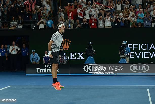 Roger Federer of Switzerland gestures in his Australian Open 2017 men's final match against Rafael Nadal of Spain at Rod Laver Arena in Melbourne...