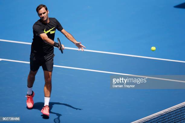 Roger Federer of Switzerland hits a forehand during a practice session ahead of the 2018 Australian Open at Melbourne Park on January 9 2018 in...