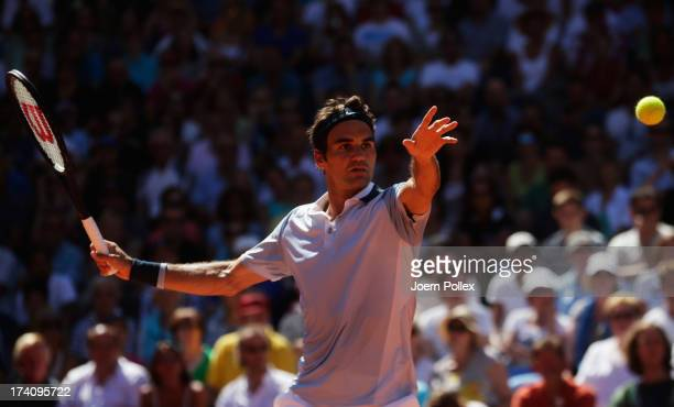 Roger Federer of Switzerland hits a forehand during his Semi Final match against Federico Delbonis of Argentina during the International German Open...