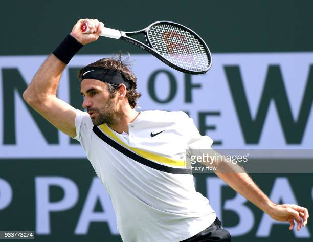 Roger Federer of Switzerland hits a forehand in his loss to Juan Martin Del Potro of Argentina in the ATP final during the BNP Paribas Open at the...