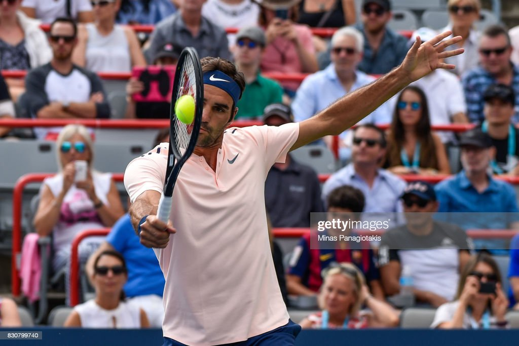 Roger Federer of Switzerland hits a return against Robin Haase of Netherlands during day nine of the Rogers Cup presented by National Bank at Uniprix Stadium on August 12, 2017 in Montreal, Quebec, Canada.