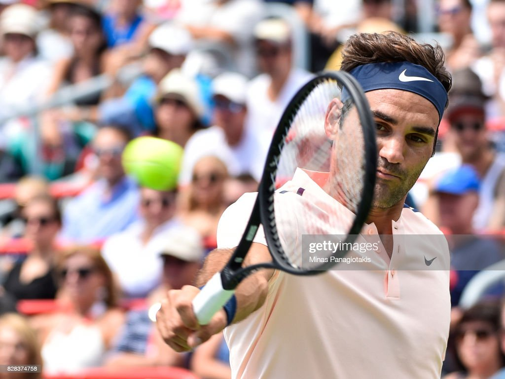 Roger Federer of Switzerland hits a return shot against Peter Polansky of Canada during day six of the Rogers Cup presented by National Bank at Uniprix Stadium on August 9, 2017 in Montreal, Quebec, Canada. Roger Federer of Switzerland defeated Peter Polansky of Canada 6-2, 6-1.