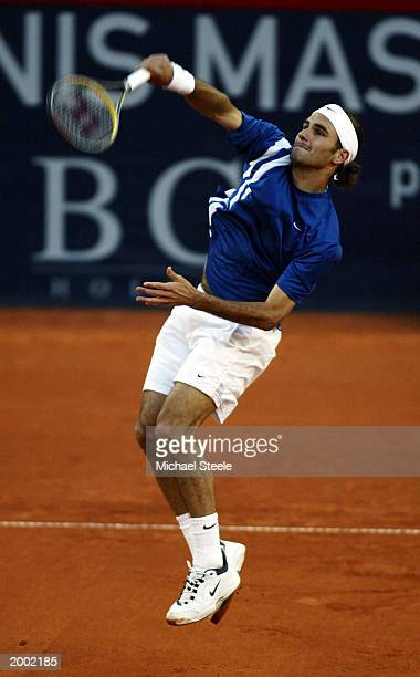 Roger Federer of Switzerland hits a smash during his third round defeat against Mark Philippoussis of Australia at the Hamburg Masters Series at the...