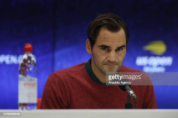 Roger Federer of Switzerland holds a press conference after his defeat against John Millman of Australia during US Open 2018 tournament in New York...