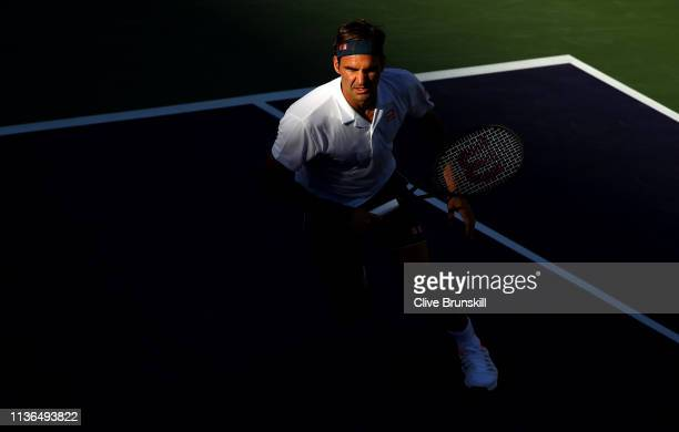 Roger Federer of Switzerland in action against Dominic Thiem of Austria during their men's singles final on day fourteen of the BNP Paribas Open at...
