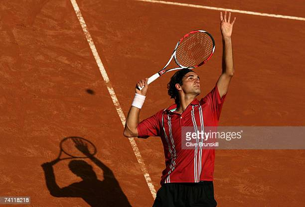 Roger Federer of Switzerland in action against Filippo Volandri of Italy in their third round match during the ATP Masters Series at the Foro Italico...