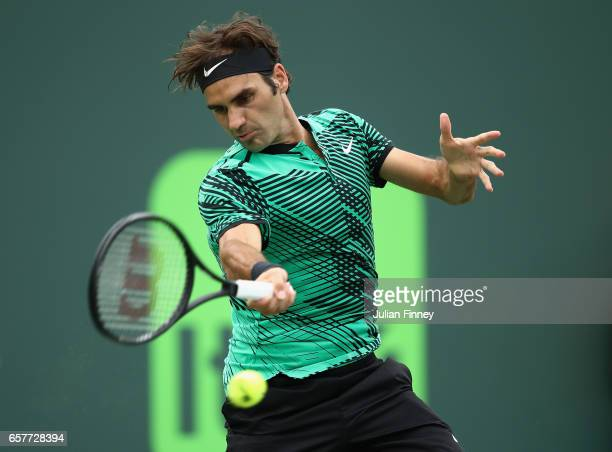 Roger Federer of Switzerland in action against Frances Tiafoe of USA at Crandon Park Tennis Center on March 25 2017 in Key Biscayne Florida