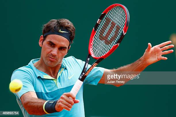 Roger Federer of Switzerland in action against Gael Monfils of France during day five of the Monte Carlo Rolex Masters tennis at the MonteCarlo...