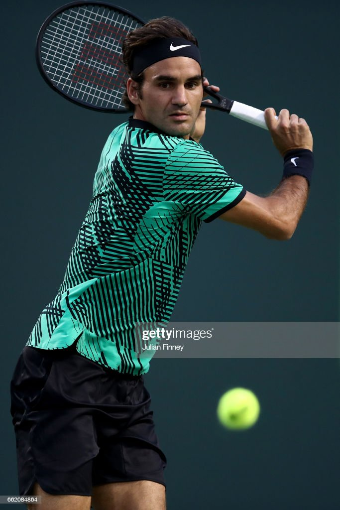 Roger Federer of Switzerland in action against Nick Kyrgios of Australia in the semi finals at Crandon Park Tennis Center on March 31, 2017 in Key Biscayne, Florida.