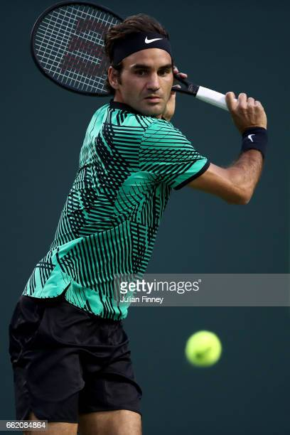 Roger Federer of Switzerland in action against Nick Kyrgios of Australia in the semi finals at Crandon Park Tennis Center on March 31 2017 in Key...