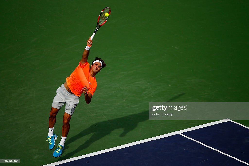 Roger Federer of Switzerland in action against Novak Djokovic of Serbia in the final during day fourteen of the BNP Paribas Open tennis at the Indian Wells Tennis Garden on March 22, 2015 in Indian Wells, California.